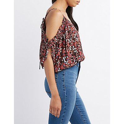 Floral Ruffle-Trim Cold Shoulder Top