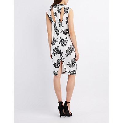 Floral Choker Neck Bodycon Dress