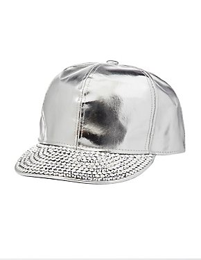 Metallic Faux Leather Rhinestone Hat