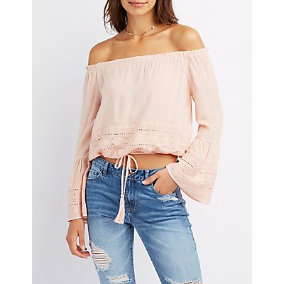 Embroidered Off-The-Shoulder Top