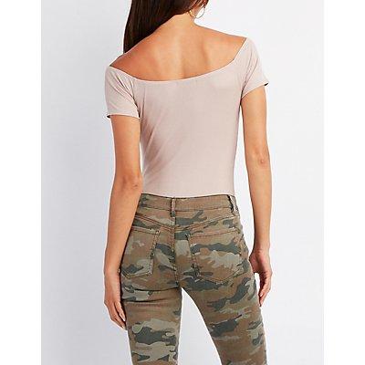 Ribbed Lattice Off-The-Shoulder Bodysuit