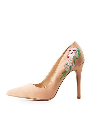 Floral Embroidered Pointed Toe Pumps