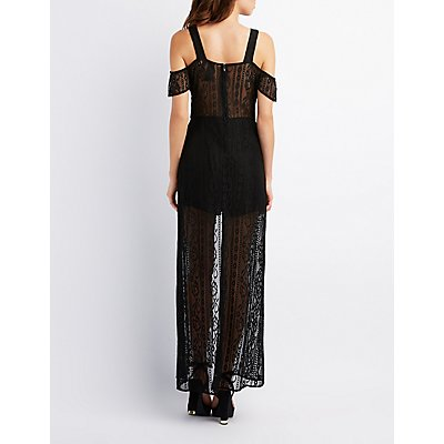 Mesh Lace Cold Shoulder Maxi Romper