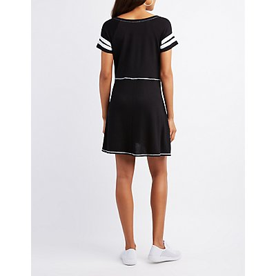 Varsity Stripe Sccop Neck Dress