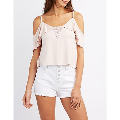 Faux Suede Lace-Trim Cold Shoulder Top