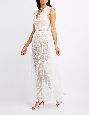 Lace Open Back Maxi Dress