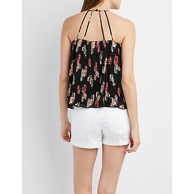 Floral Pleated Tank Top