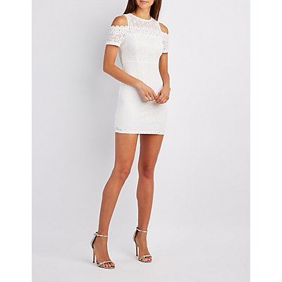 Crochet Cold Shoulder Bodycon Dress