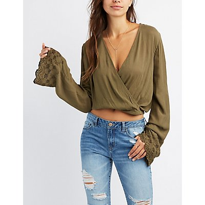 Surplice Embroidered Bell Sleeve Top