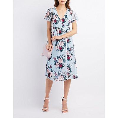 Floral Flutter Sleeve Wrap Dress