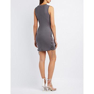Mock Neck Lace-Up Dress