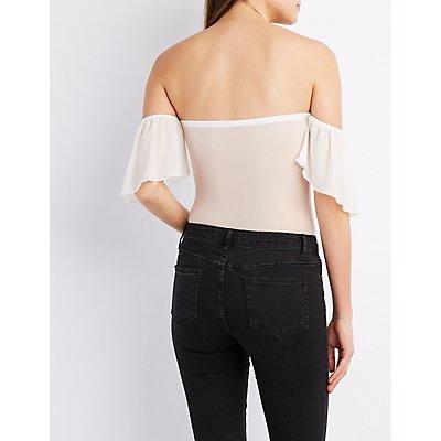 Lace-Trim Off-The-Shoulder Bodysuit