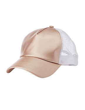 Metallic Faux Leather Trucker Hat