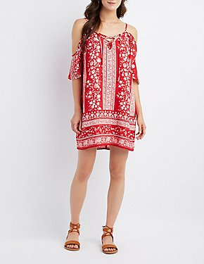 Printed Lace-Up Cold Shoulder Dress