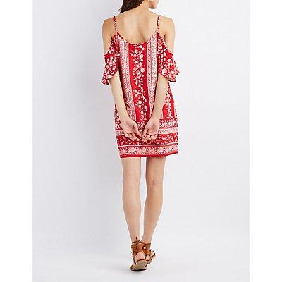 Printed Lace-Up Cold Shoulder Dress