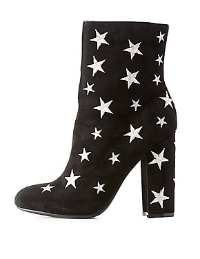 Star Embroidered Ankle Boots