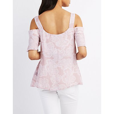 Paisley Ruffle Cold Shoulder Top