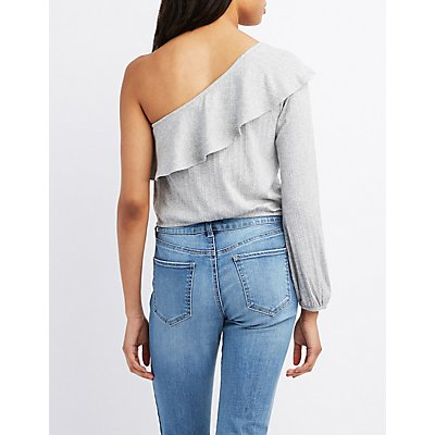 Ribbed One-Shoulder Crop Top