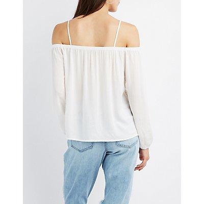 Lace-Trim Cold Shoulder Top