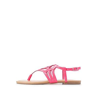 Laser-Cut T-Strap Sandals