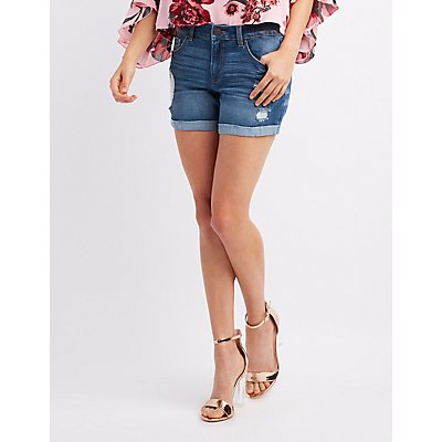Refuge Girlfriend Distressed Denim Shorts