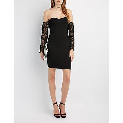 Crochet-Sleeve Off-The-Shoulder Dress