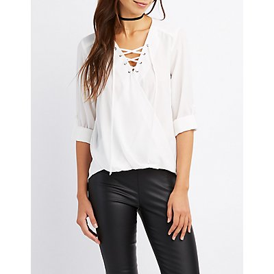 Lace-Up Surplice Blouse