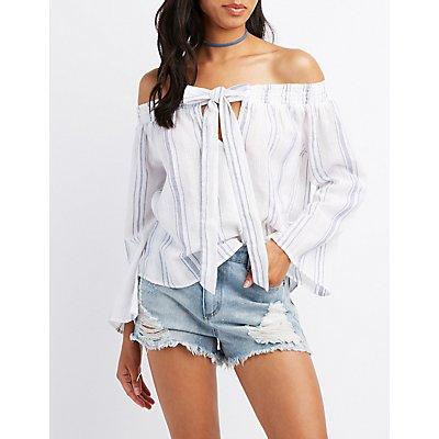 Striped Tie-Front Off-The-Shoulder Top