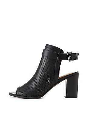 Perforated Peep Toe Slingback Sandals