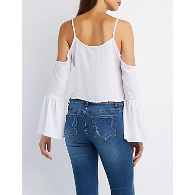 Lace-Up Cold Shoulder Crop Top