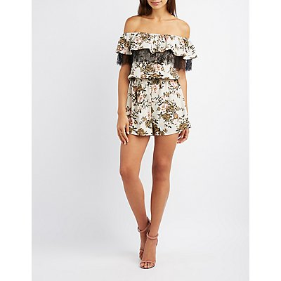 Floral Lace-Trim Off-The-Shoulder Romper