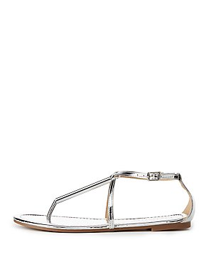 Metal-Trim T-Strap Sandals