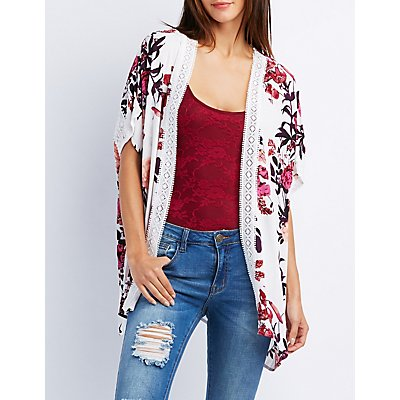 Floral Crochet-Trim Tunic Kimono