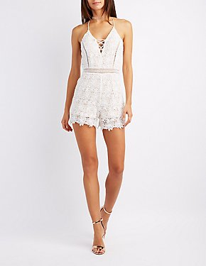 Crochet Lattice-Front Romper
