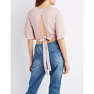 Surplice Tie-Back Crop Top