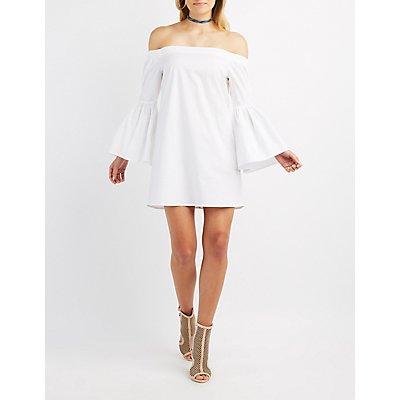 Off-The-Shoulder Bell Sleeve Dress