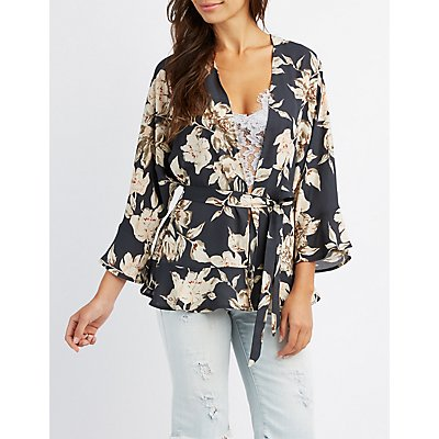 Floral Ruffle-Trim Belted Kimono