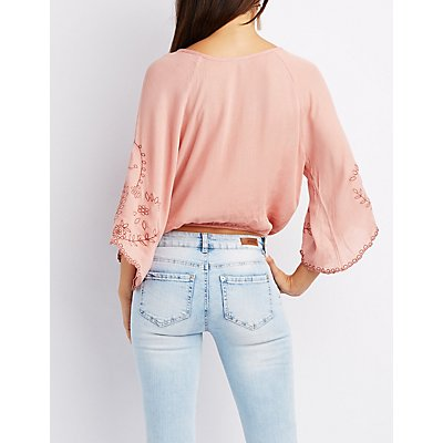 Embroidered Surplice Top