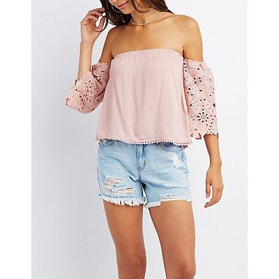 Crochet Sleeve Off-The-Shoulder Top