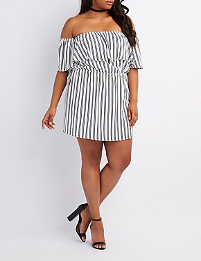 Plus Size Striped Off-The-Shoulder Ruffle Dress