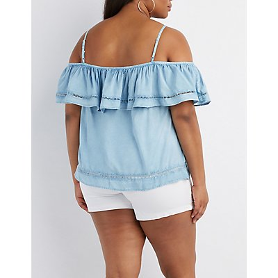Plus Size Chambray Tiered Cold Shoulder Top