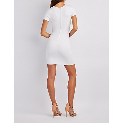 Lattice-Inset Bodycon Dress