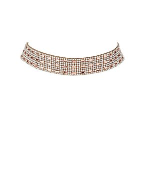 Embellished Rhinestone Choker Necklace