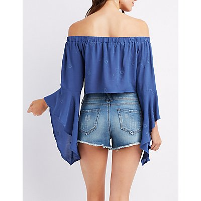 Embroidered Off-The-Shoulder Tied Top