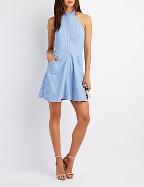 Striped Chambray Halter Skater Dress