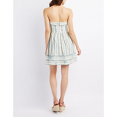 Striped Strapless Skater Dress