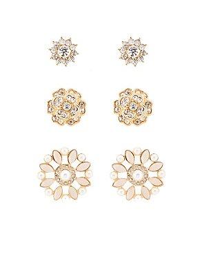 Embellished Floral Stud Earrings - 3 Pack