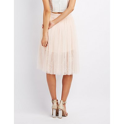 Tulle & Lace Midi Skirt
