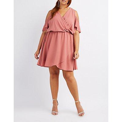 Plus Size Surplice Cold Shoulder Dress
