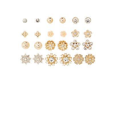 Embellished Stud Earrings -12 Pack